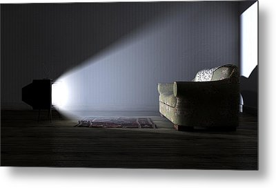 Illuminated Television And Lonely Old Couch Metal Print by Allan Swart