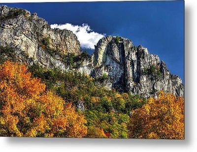 Imposing Seneca Rocks - Seneca Rocks National Recreation Area Wv Autumn Mid-afternoon Metal Print by Michael Mazaika