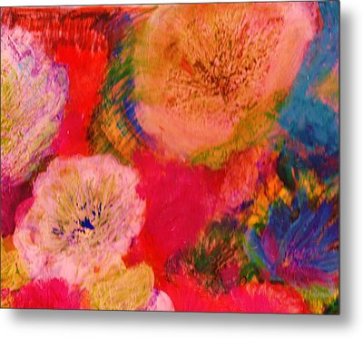 Impressionistic Flowers From The Imagination Metal Print by Anne-Elizabeth Whiteway