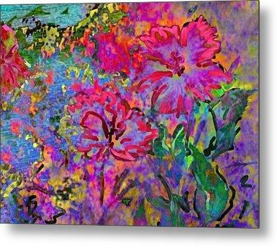 Impressionistic Magenta Hibiscus - Horizontal Metal Print by Lyn Voytershark