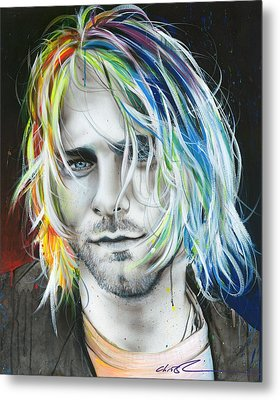 Kurt Cobain - ' In Debt For My Thirst ' Metal Print by Christian Chapman Art
