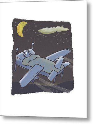 In-flight Sleep, Conceptual Artwork Metal Print by Science Photo Library