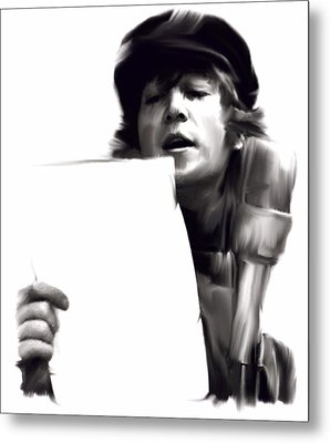 In Studio John Lennon Metal Print by Iconic Images Art Gallery David Pucciarelli