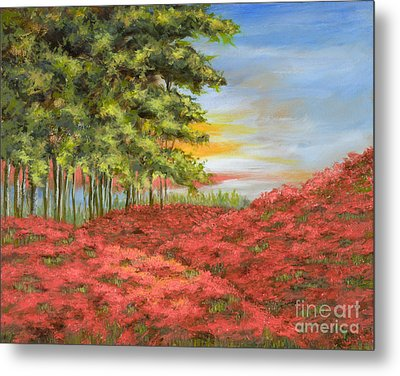 In The Field Of Poppies Metal Print by Vic  Mastis