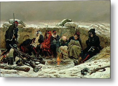 In The Trenches Metal Print by Alphonse Marie de Neuville