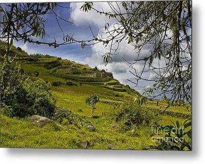 Inca Ruins On Mount Cojitambo In Ecuador Metal Print by Al Bourassa