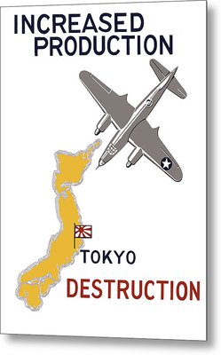 Increased Production - Tokyo Destruction Metal Print by War Is Hell Store