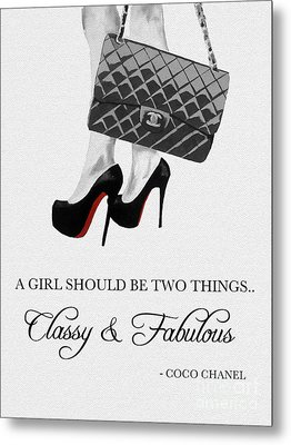 Independent Quote Black And White Metal Print by Rebecca Jenkins
