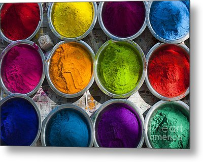 Indian Coloured Powder Bowls Metal Print by Tim Gainey