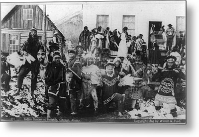Indian Dancers At Potlatch In Sitka Alaska Metal Print by Carpenter Collection