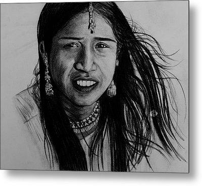 Indian Girl Metal Print by Caroline  Reid