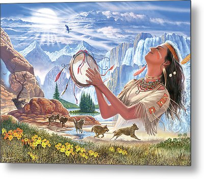 Indian Squaw And The Wolves Metal Print by Steve Crisp