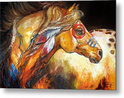 Indian War Horse Golden Sun Metal Print by Marcia Baldwin