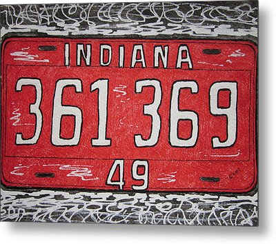 Indiana 1949 License Platee Metal Print by Kathy Marrs Chandler