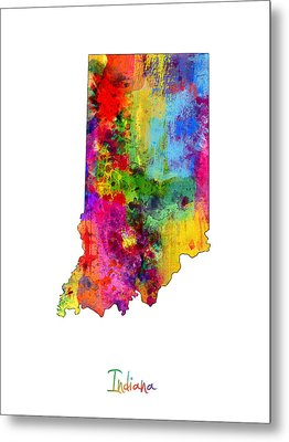 Indiana Map Metal Print by Michael Tompsett