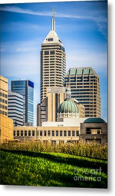 Indianapolis Cityscape Downtown City Buildings Metal Print by Paul Velgos