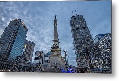 Indianapolis Indiana Monument Circle Blue  Metal Print by David Haskett