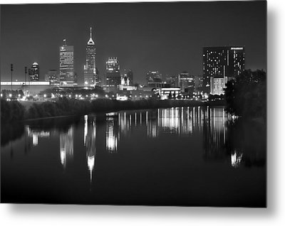 Indianapolis Skyline At Night Indy Downtown Black And White Bw Panorama Metal Print by Jon Holiday