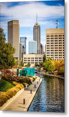 Indianapolis Skyline Picture Of Canal Walk In Autumn Metal Print by Paul Velgos