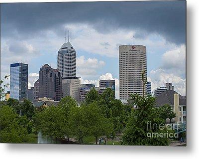 Indianapolis Skyline Storm 3 Metal Print by David Haskett