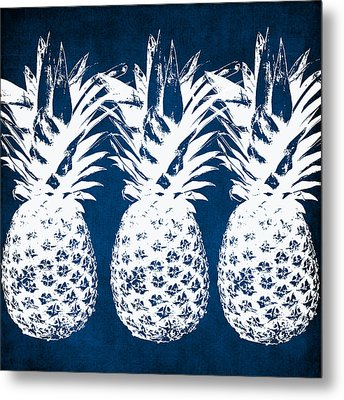 Indigo And White Pineapples Metal Print by Linda Woods