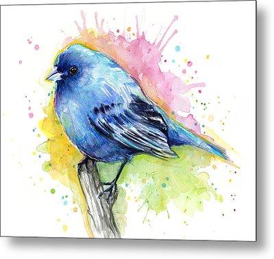 Indigo Bunting Blue Bird Watercolor Metal Print by Olga Shvartsur