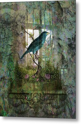 Indoor Garden With Bird Metal Print by Sarah Vernon