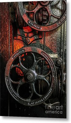 Industrial Wheels Metal Print by Carlos Caetano