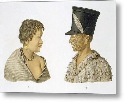Inhabitants Of New Zealand, 1826 Metal Print by French School
