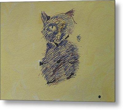 Ink Cat Metal Print by AJ Brown