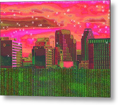 Inner City - Night Falls Metal Print by Wendy J St Christopher