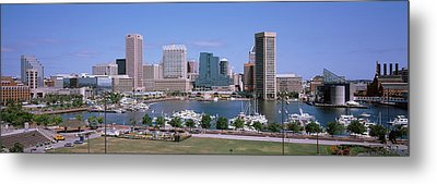 Inner Harbor Skyline Baltimore Md Usa Metal Print by Panoramic Images
