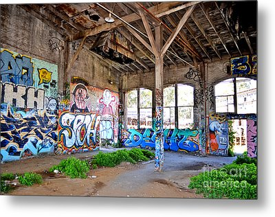 Inside The Old Train Roundhouse At Bayshore Near San Francisco And The Cow Palace II Metal Print by Jim Fitzpatrick