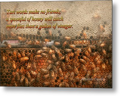 Inspiration - Apiary - Bee's - Sweet Success - Ben Franklin Metal Print by Mike Savad