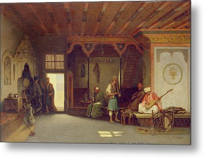 Interior Of An Oriental Cafe Oil On Panel Metal Print by Charles Theodore Frere