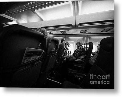 Interior Of Jet2 Aircraft Passenger Cabin In Flight Europe Metal Print by Joe Fox