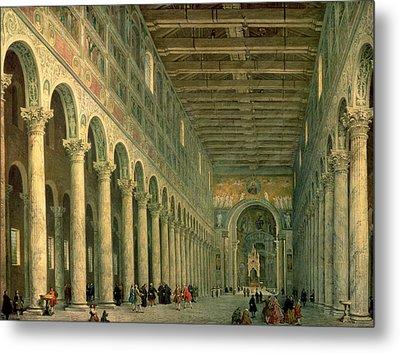 Interior Of The Church Of San Paolo Fuori Le Mura Metal Print by Giovanni Paolo Panini