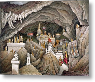 Interior Of The Grotto Of Nam Hou Metal Print by Louis Delaporte