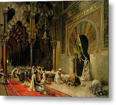 Interior Of The Mosque At Cordoba Metal Print by Edwin Lord Weeks