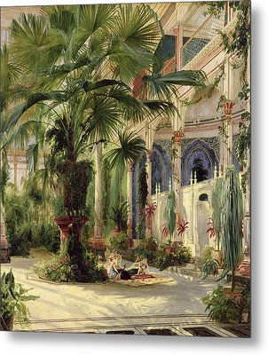 Interior Of The Palm House At Potsdam Metal Print by Karl Blechen