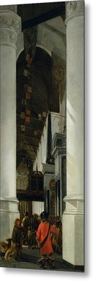 Interior View Of The New Church In Delft Metal Print by Emanuel de Witte