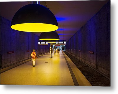 Interiors Of An Underground Station Metal Print by Panoramic Images