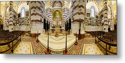 Interiors Of The Basilica, Notre Dame Metal Print by Panoramic Images