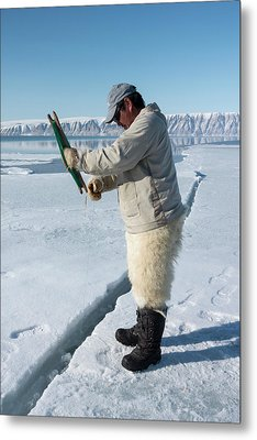 Inuit Hunter Line Fishing Metal Print by Louise Murray