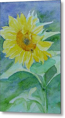 Inviting Sunflower Small Sunflower Art Metal Print by K Joann Russell