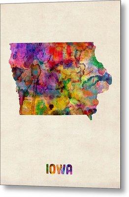 Iowa Watercolor Map Metal Print by Michael Tompsett