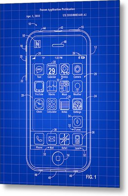 iPhone Patent - Blue Metal Print by Stephen Younts
