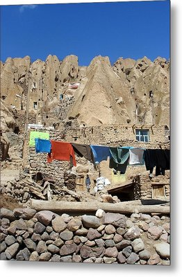 Iran Kandovan Stone Village Laundry Metal Print by Lois Ivancin Tavaf