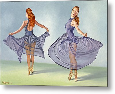 Irina Dancing In Sheer Skirt Metal Print by Paul Krapf