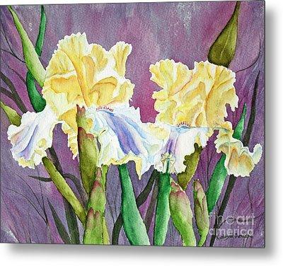 Iris Cream Duo Metal Print by Kathryn Duncan